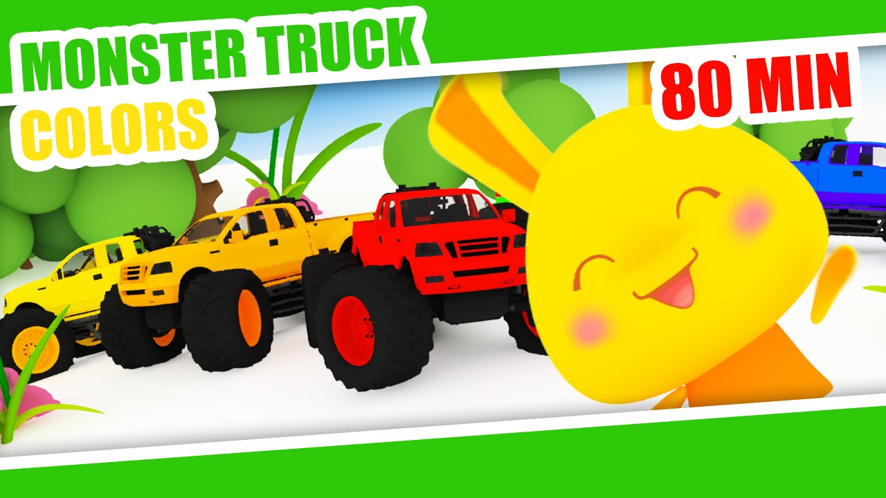 Learn Colors Monster Truck Color 3d Video For Kids Youtube