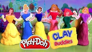 6 Disney Princess Clay Buddies Play-Doh Belle Ariel Rapunzel Cinderella SnowWhite by Disneycollector