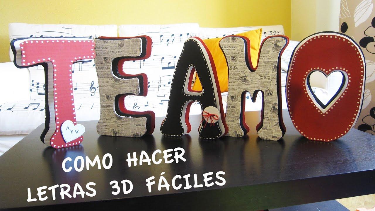 Como hacer letras 3d f ciles te amo para san valent n - Letras para letreros grandes ...