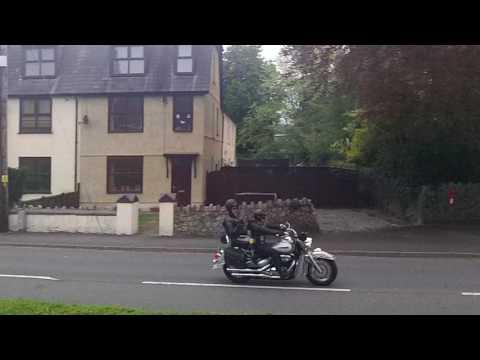 Bikers going through Ystradgynlais