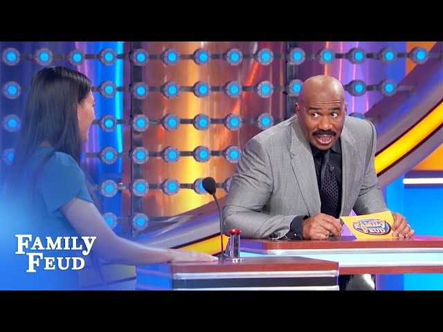 Steve Harvey has some name tag trouble! | Family Feud