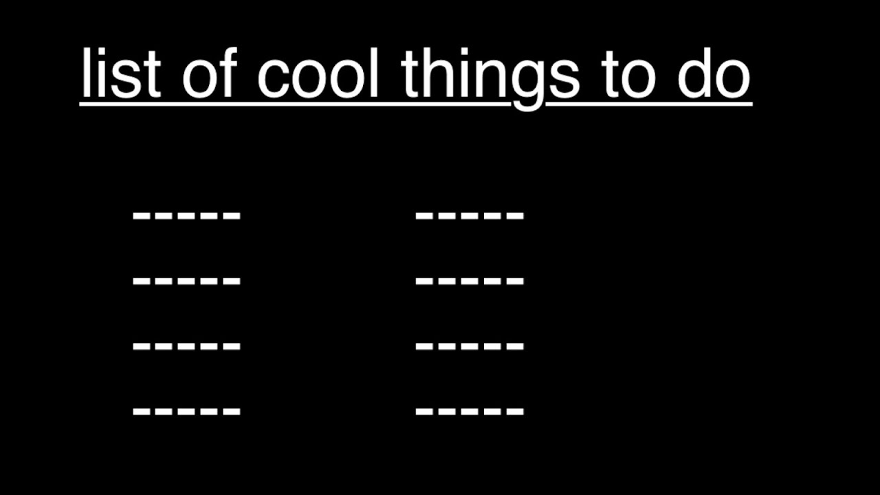 list of cool things to do youtube