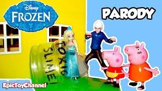FROZEN Disney Elsa Slimes Jack Frost and Peppa Pig a Disney Frozen Toy Video Parody