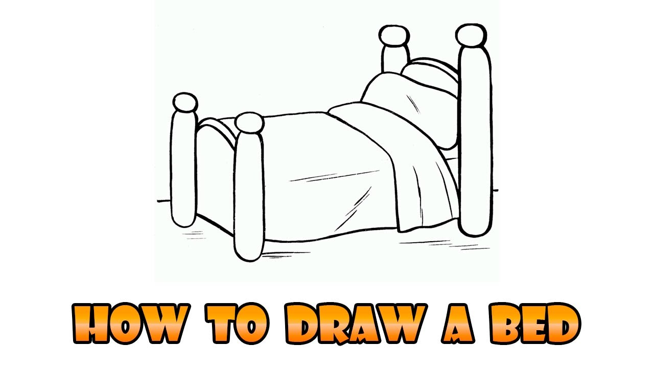 Bedroom drawing for kids - How To Draw Bed Easy Step By Step Drawing Lesson For Kids