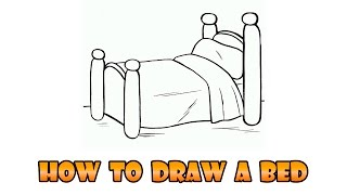 How to Draw bed - Easy step-by-step drawing lesson for kids