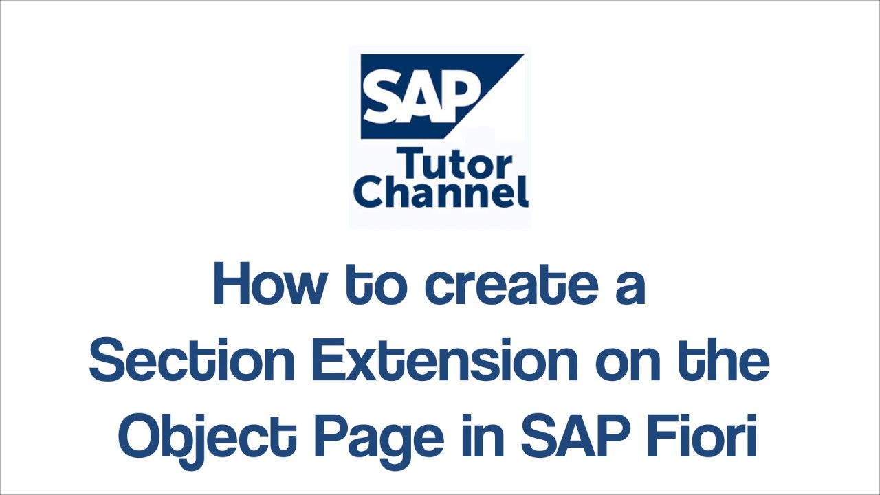 How To Create A Section Extension On The Object Page In Sap Fiori