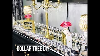 Glam Dollar Tree DIY Mirror| Glam Dollar Tree Table Runner | DIY Mirror | Totally Dazzled