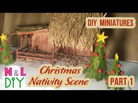 DIY Miniature Christmas Nativity Scene   How to make a Miniature Christmas Crib   Part 1