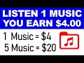 Earn $4.00+ Every MUSIC You Listen (FREE) - Make Money Listening To Music | Branson Tay