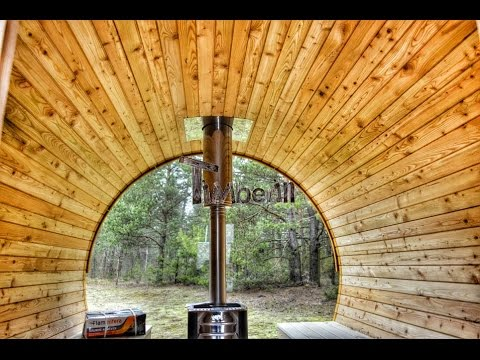 Barrel Garden Outdoor Sauna With Complete Panoramic Window And Dressing  Room   TimberIN   YouTube