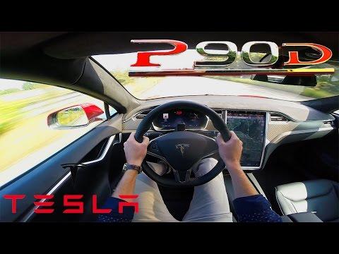Tesla Model S 2017 P90D ACCELERATION & TOP SPEED Test Drive POV Ludicrous LAUNCH mode