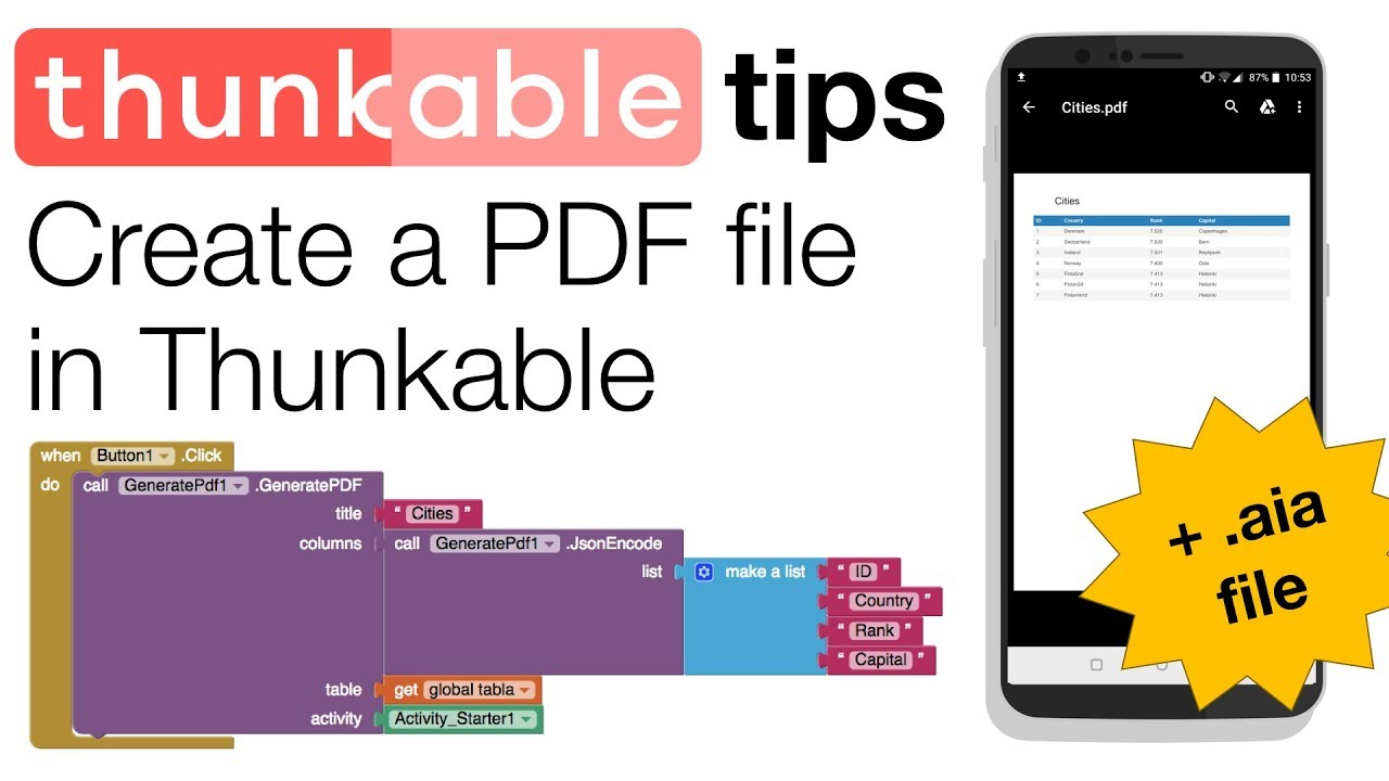 Thunkable Extensions: Create PDF Files (with  aia file)