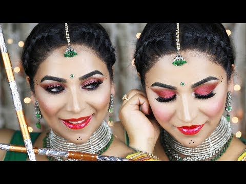 Long Lasting Navratrigarba Makeup Hair Tutorial 2017