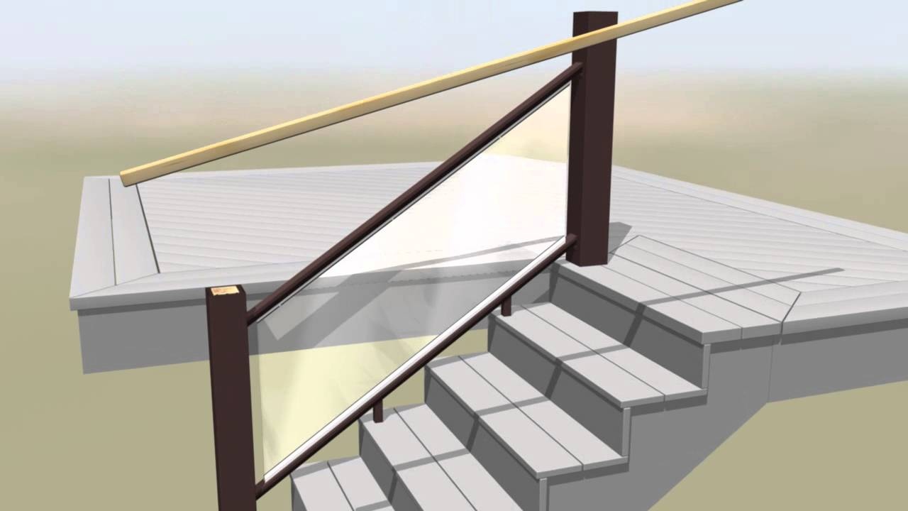 TimberTech Evolutions Rail Contemporary Stairs Glass Install Video   YouTube