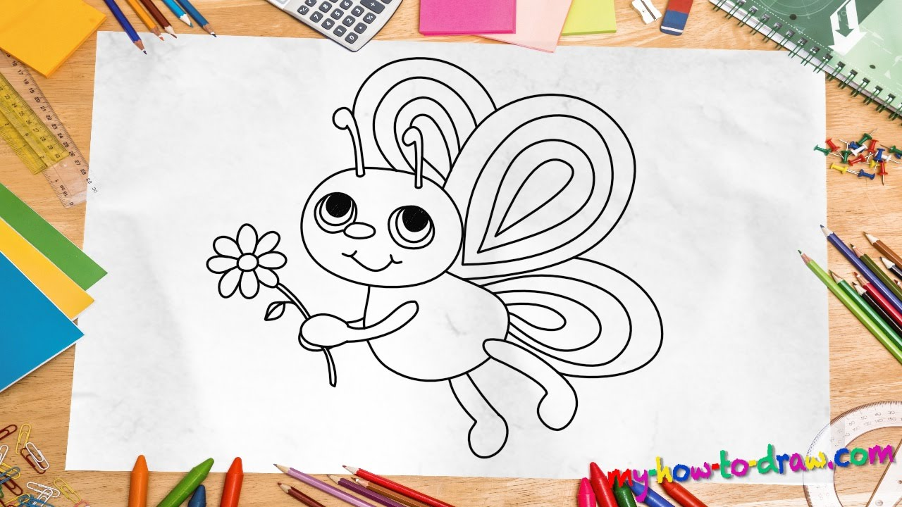 How to draw a Butterfly - Easy step-by-step drawing ...