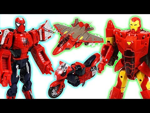 Thumbnail: Marvel Spider Man, Iron Man, Captain America transformers! Defeat the dinosaurs! - DuDuPopTOY