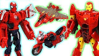 Marvel Spider Man, Iron Man, Captain America transformers! Defeat the dinosaurs! - DuDuPopTOY