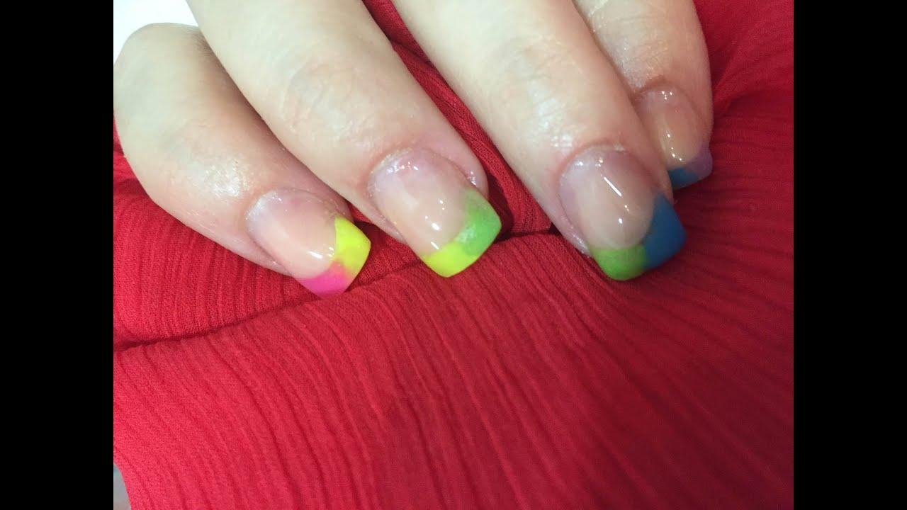 Uñas acrílicas Arco Iris - Diseño multicolor- Uñas acrílicas en casa ...