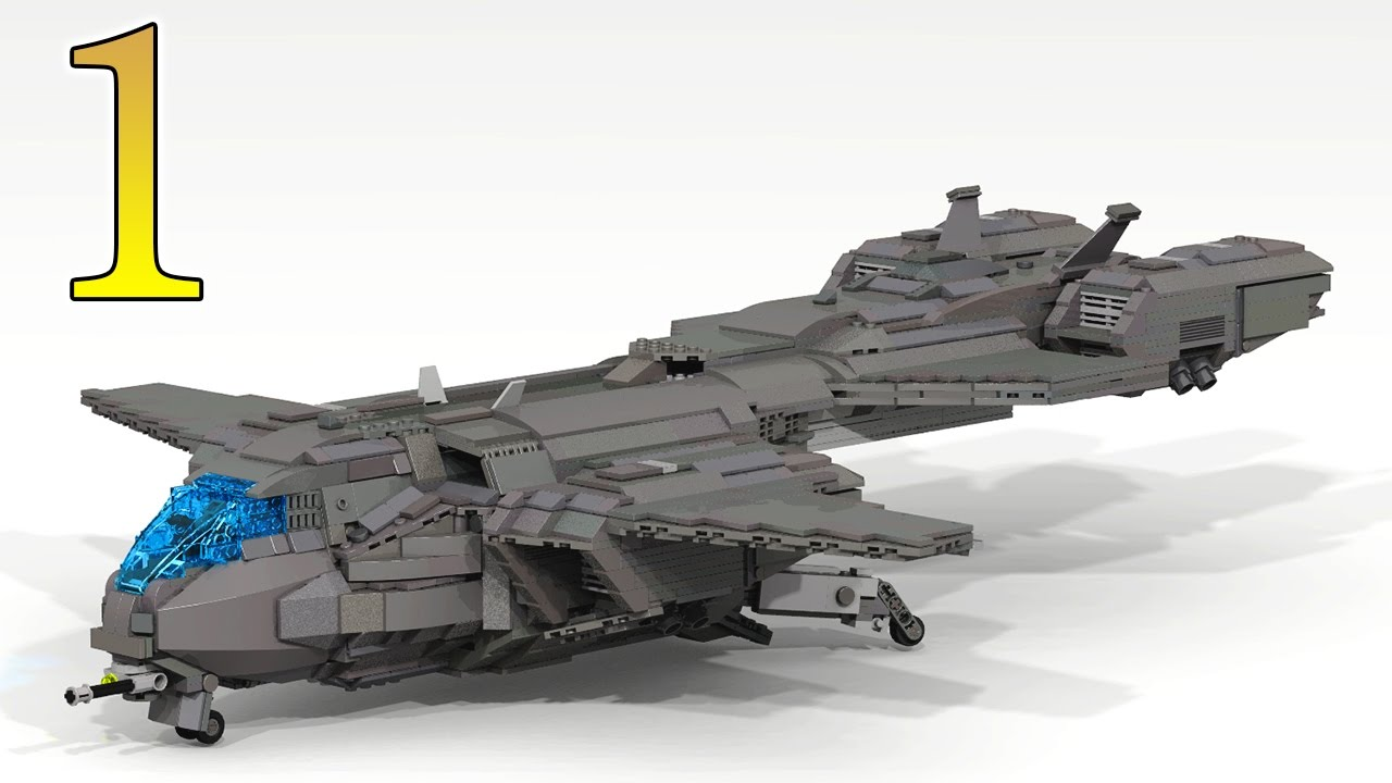 instructions lego halo pelican dropship part 1 youtube