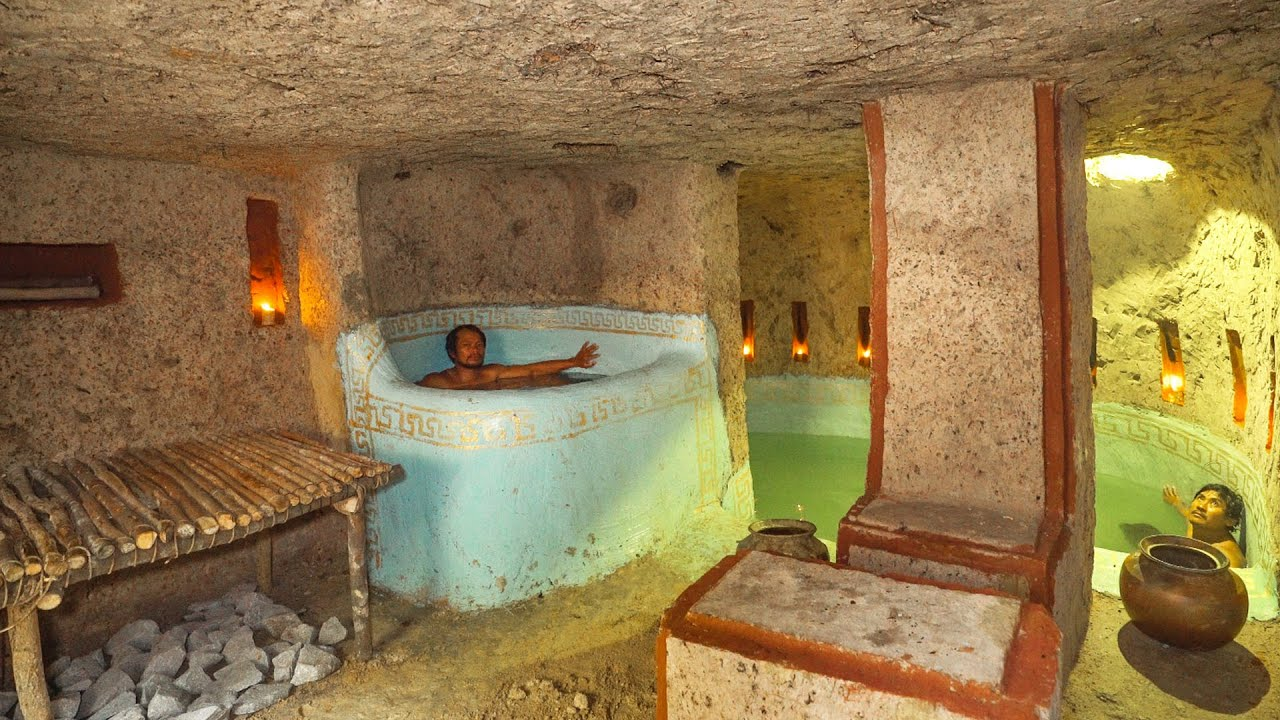 69Day Build Cave Platinum Underground House Bath Pool, Underground Swimming Pools