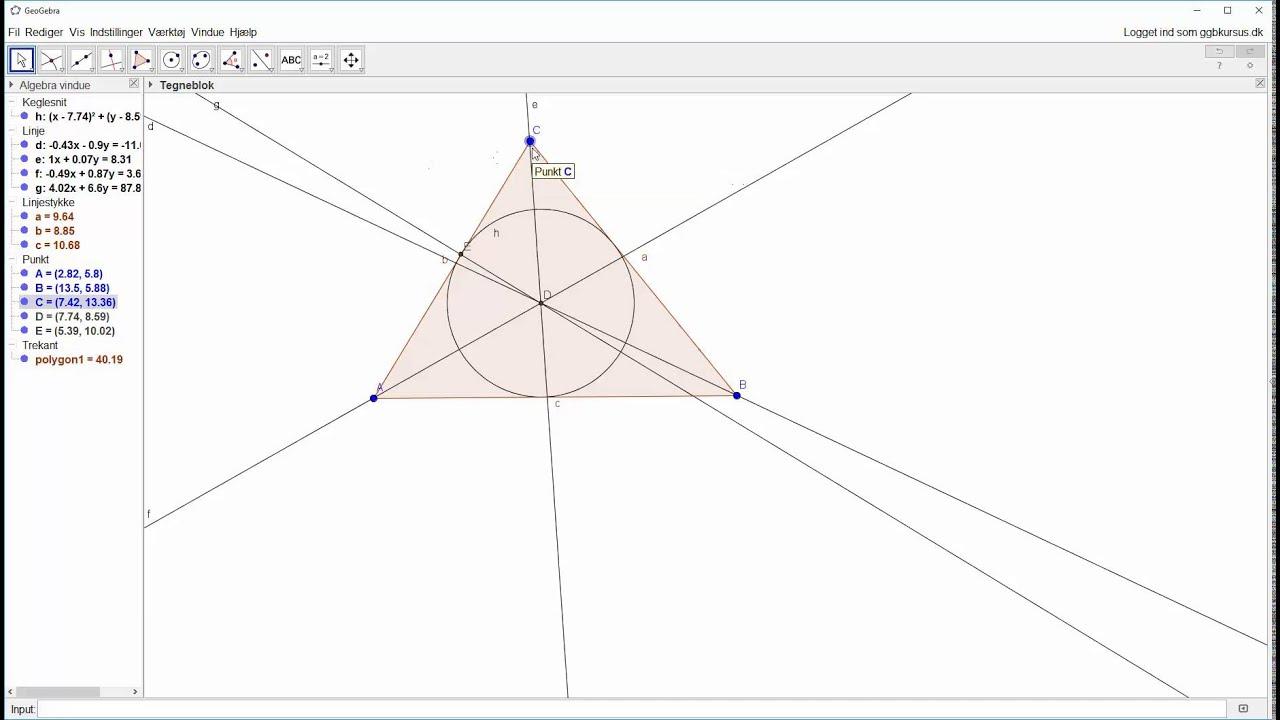Opstartsøvelse - Konstruktion af trekant med indskrevet cirkel