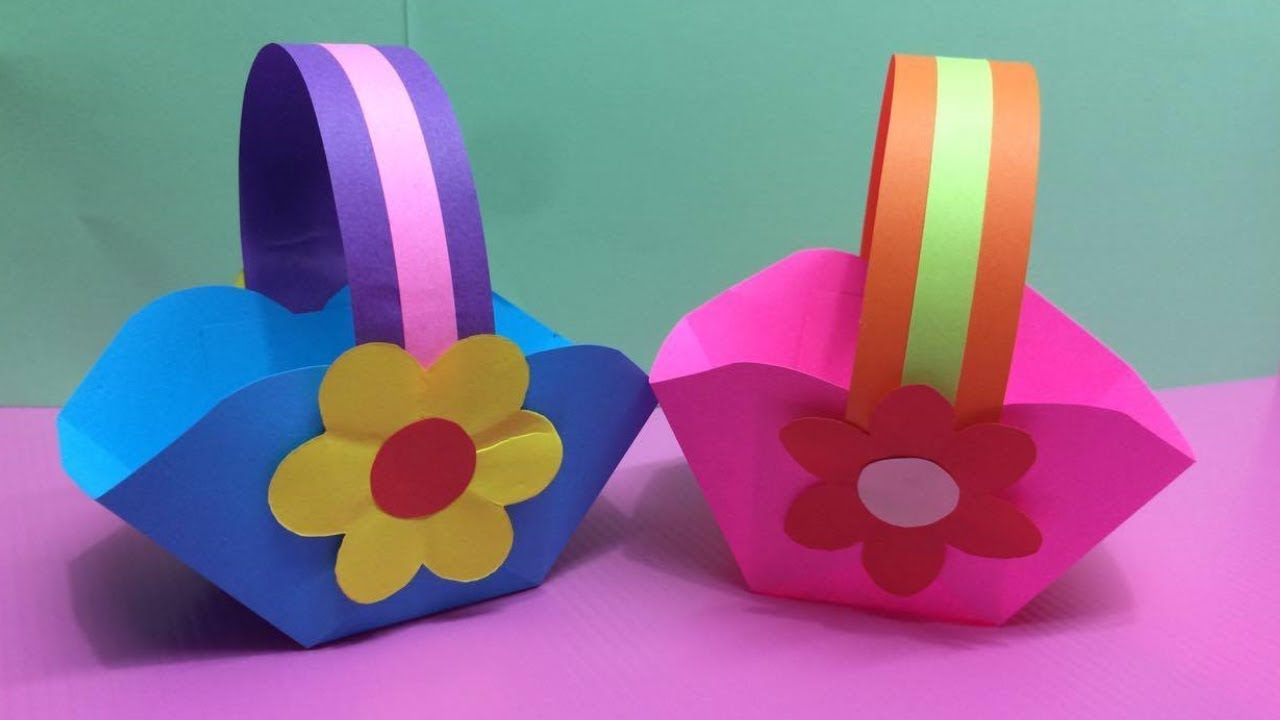 How To Make Basket With Color Paper Diy Paper Baskets