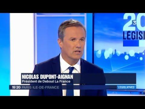 Nicolas Dupont-Aignan invité de France 3 Paris