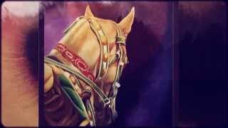 The progression of a painting: Akhal Teke from Turkmenistan