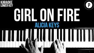 Alicia Keys - Girl On Fire Karaoke SLOWER Acoustic Piano Instrumental Cover Lyrics LOWER KEY