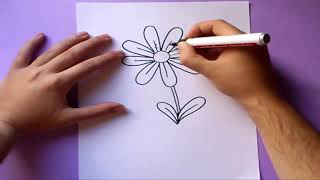 Como dibujar una margarita paso a paso | How to draw a daisy