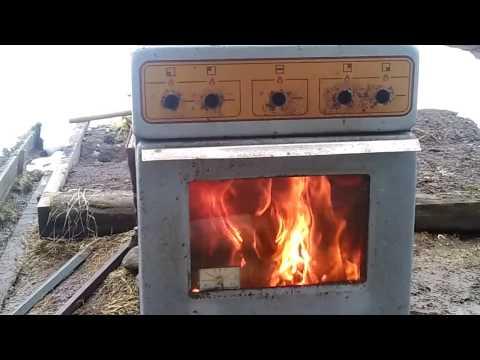 печь камин из газ.плиты 1