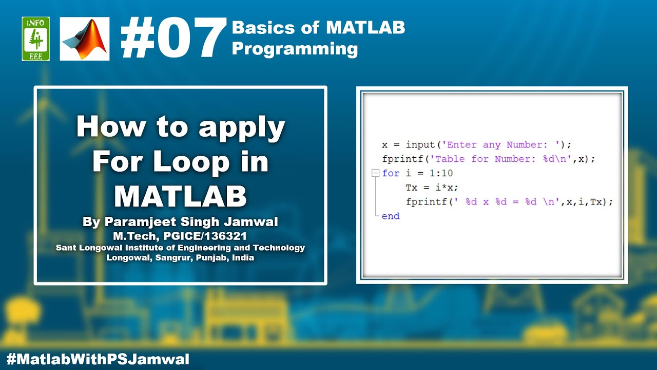 How To Apply FOR LOOP in MATLAB - INFO4EEE