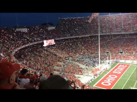 Ohio Stadium O H I O cheer lit with Mobile phone lights
