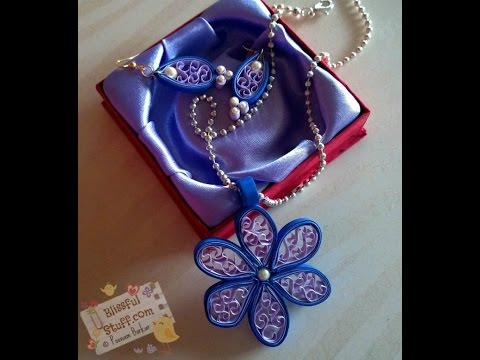 DIY - How to make Quilled Paper Necklace and earrings, Easy Beehive Flower tutorial