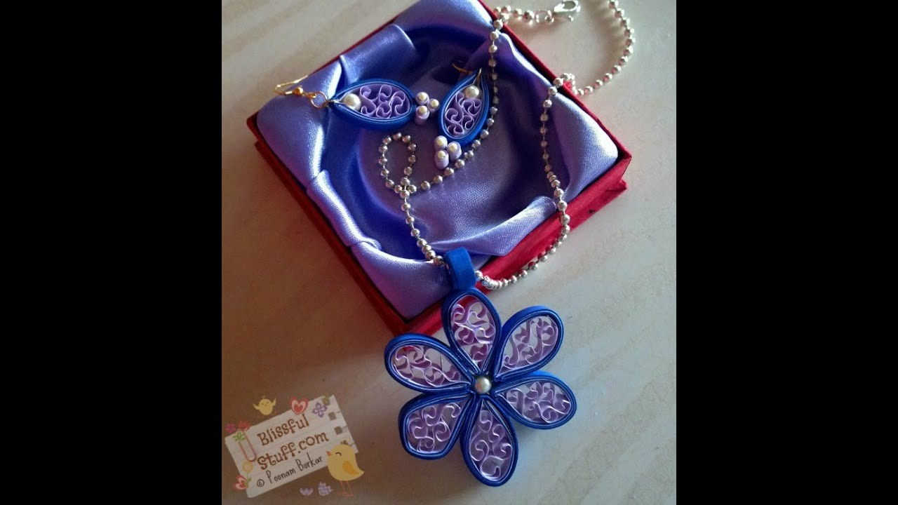 Papercraft DIY - How to make Quilled Paper Necklace and earrings, Easy Beehive Flower tutorial