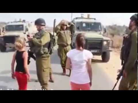 Palestinian girl facing Israeli soldiers 02.11.2012