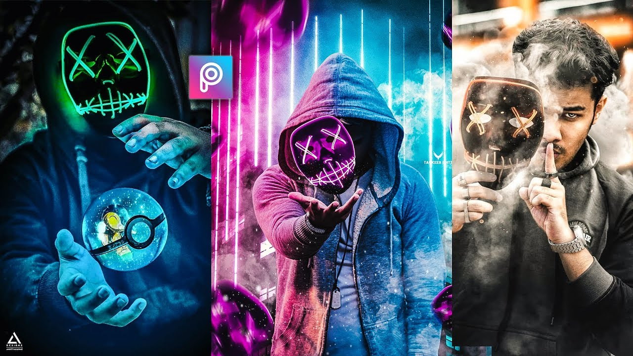 Picsart 3d Fly Neon Hacker Mask Photo Editing Tutorial In Picsart Step By Step In Hindi Viral Edit Youtube