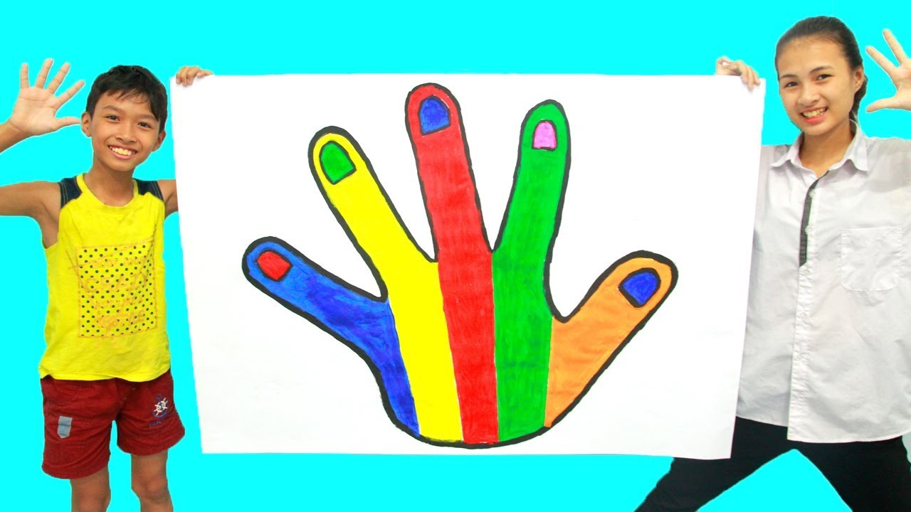 Menggambar Dan Mewarnai Tangan Pelangi Untuk Anak Anak