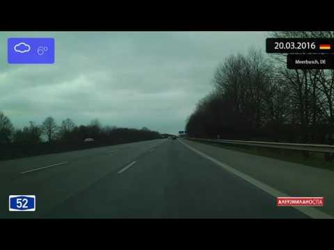 Driving through Nordrhein-Westfalen (Germany) from Düsseldorf to Willich 20.03.2016 Timelapse x4
