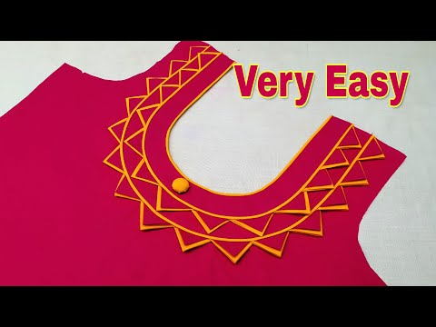 Very Easy Piping Round Neck Design Cutting And Stitching Youtube