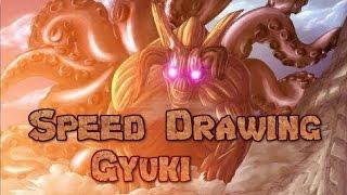 Speed Drawing Gyūki(Hachibi,8 colas) E.S. Rinmaru Hedgehog