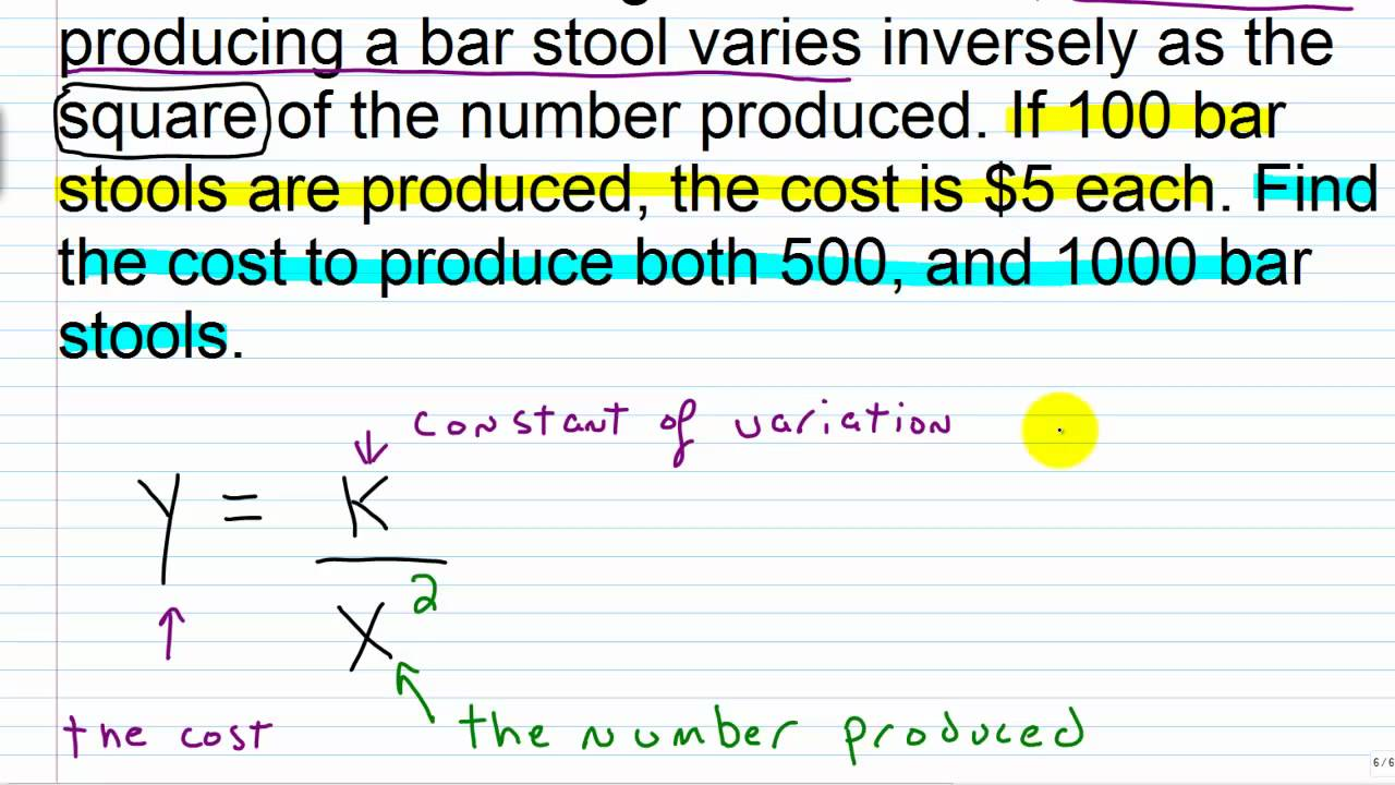 Algebra I Help: Inverse Variation II - YouTube