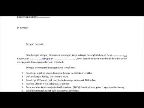 Contoh Surat Lamaran Kerja Perangkat Desa Saja Youtube