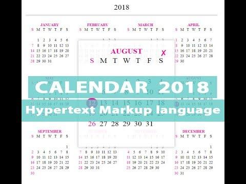 HTML Code For Calendar