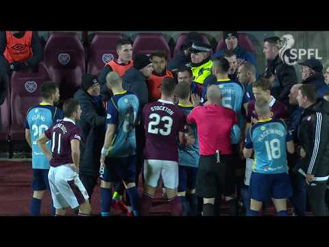 Watch touchline bust-up from Hearts v Hamilton