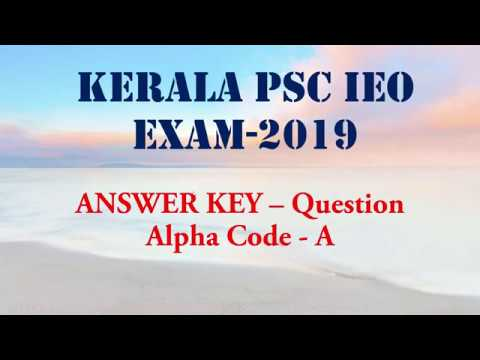 Answer Key-- Kerala PSC Industries Extension Officer Exam 2019