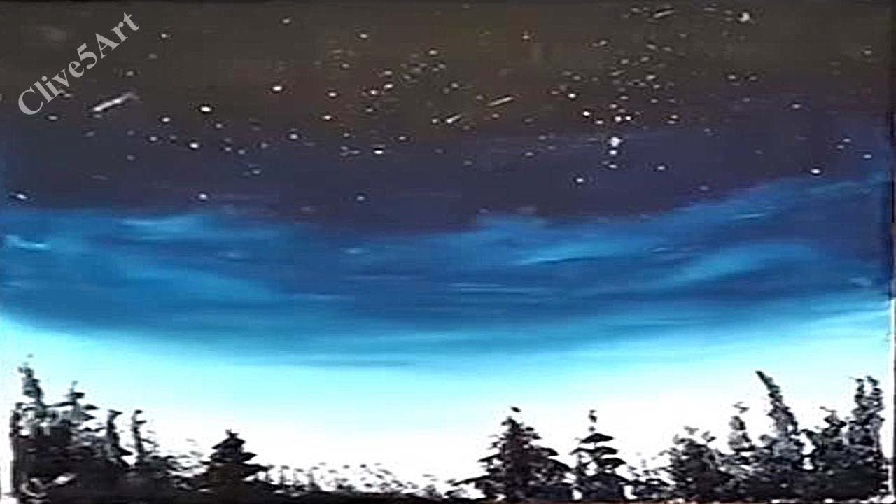 easy night sky acrylic painting for beginners acrylic painting clive5art youtube. Black Bedroom Furniture Sets. Home Design Ideas