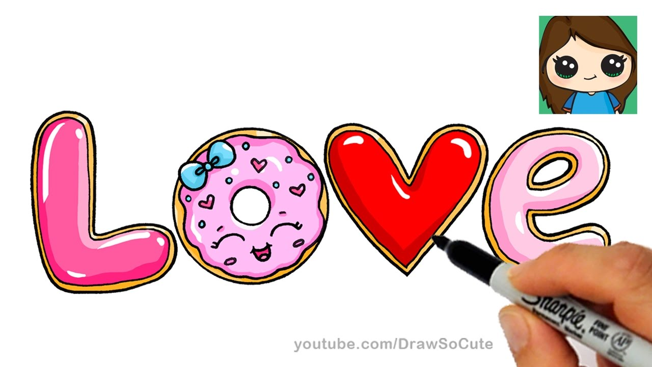 How To Draw Love In Bubble Letters Donut And Cookies Youtube