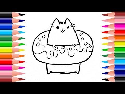 วาดรูป ระบายสีแมวพูชีนในโดนัท น่ารัก วาดอย่างง่ายๆ| drawing and coloring donut pusheen cat