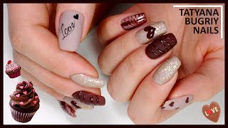 Chocolate MANICURE / Simple Design for Everyone / Nail Design for St.VALENTINE